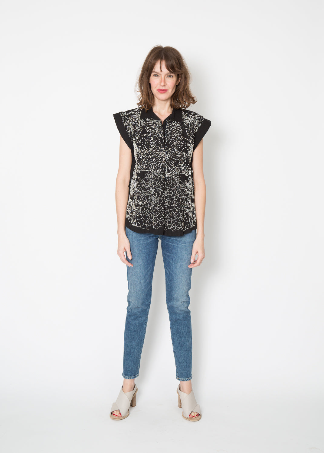 Mii Embroidered Boxy Top Black French Knot