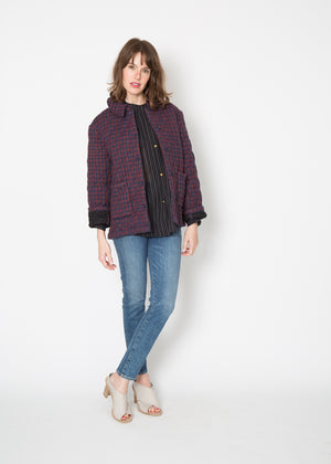 Laurence Bras Strap Jacket Burgundy Plaid