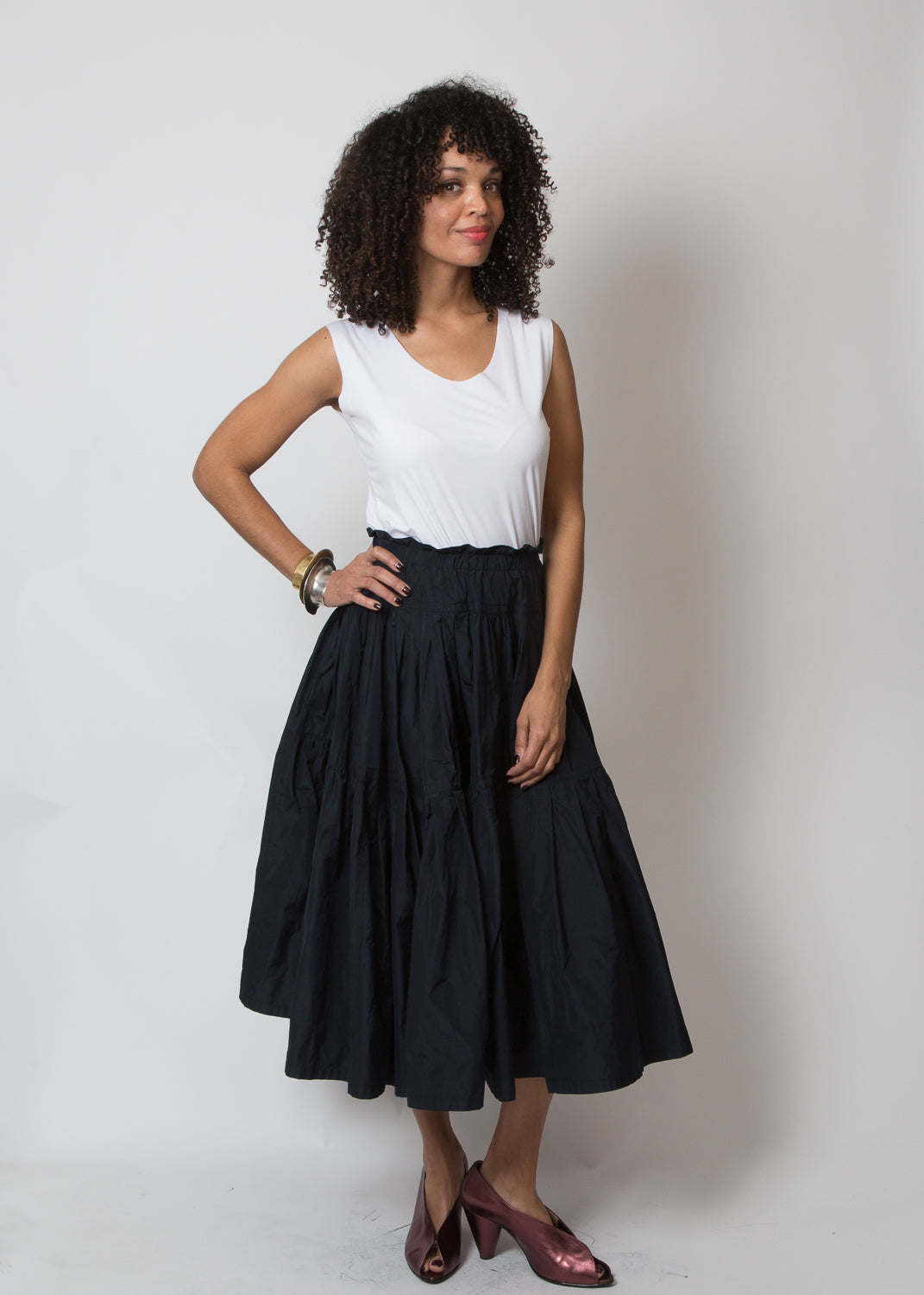 Odeeh Taffeta Full Tiered Skirt