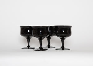 Vintage Fostoria Biscayne Onyx Glasses Set of 4