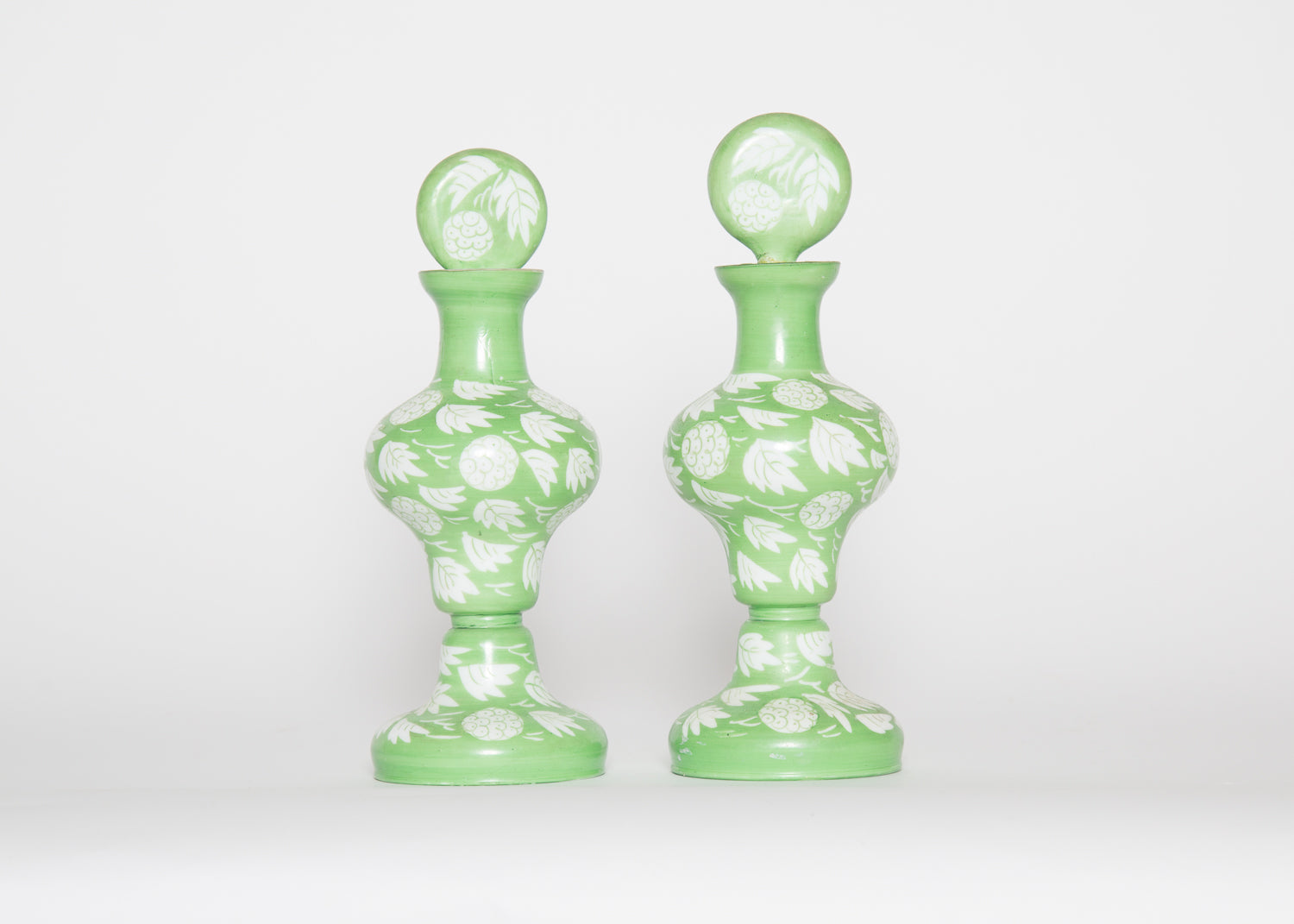 Vintage Victorian Green Lychee Decanters Set 2