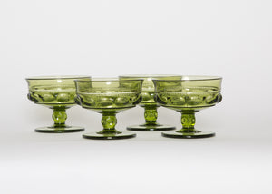Vintage Olive Coupe Glasses Set 4