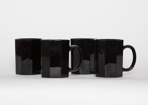 Vintage Arcoroc France Black Octime Mugs Set 4