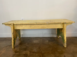 Vintage 1800's Chipped Yellow Bench