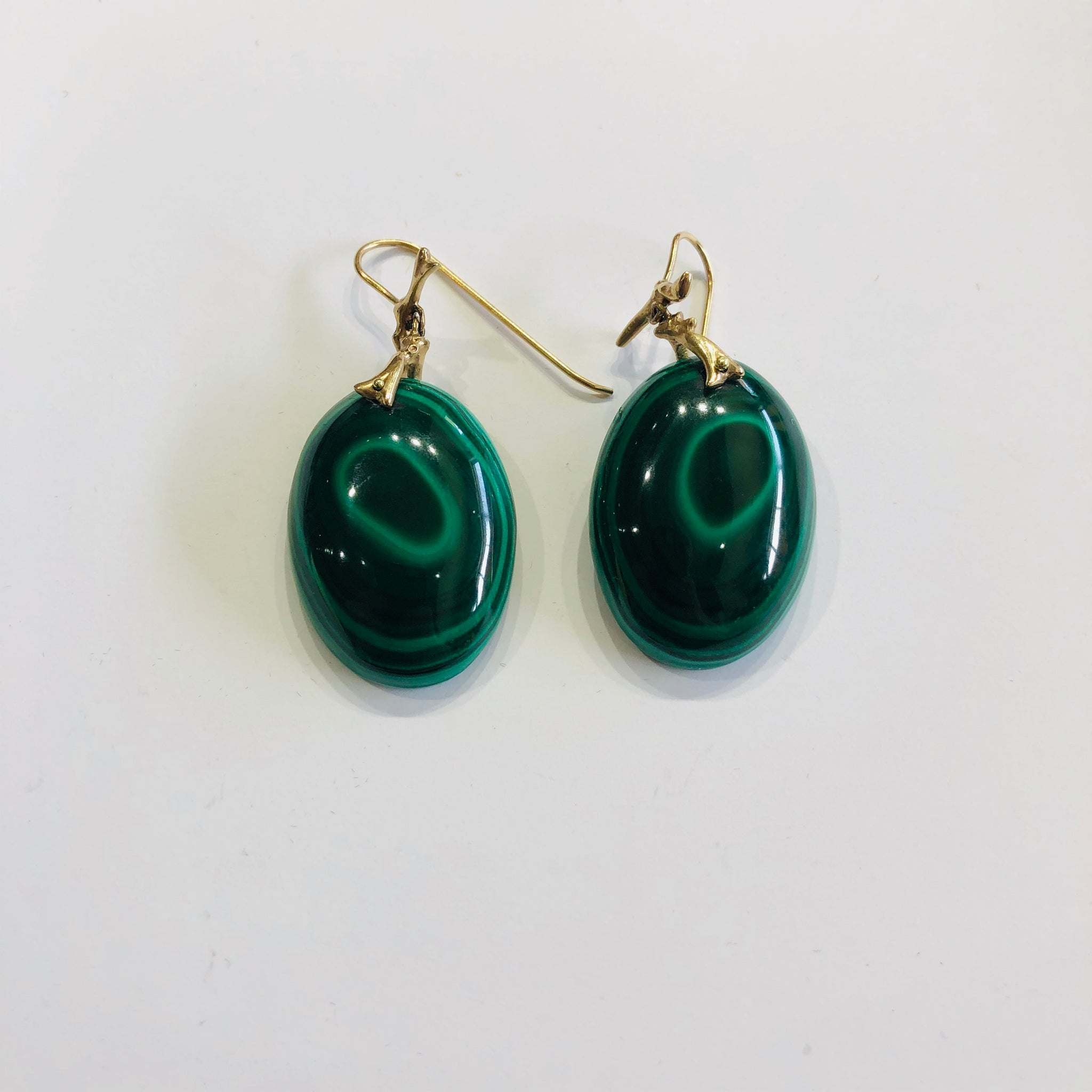 Annette Ferdinandsen Branches with Malachite Slices 14k