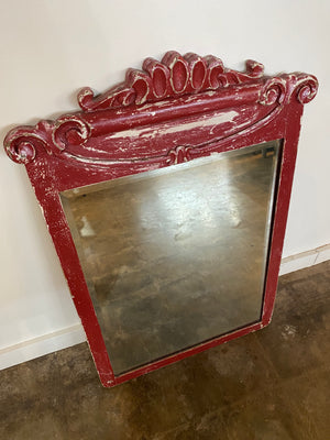 Vintage Chipped Red Mirror