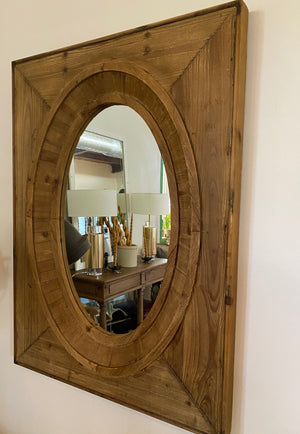 Aged Wood Frame Oval Mirror
