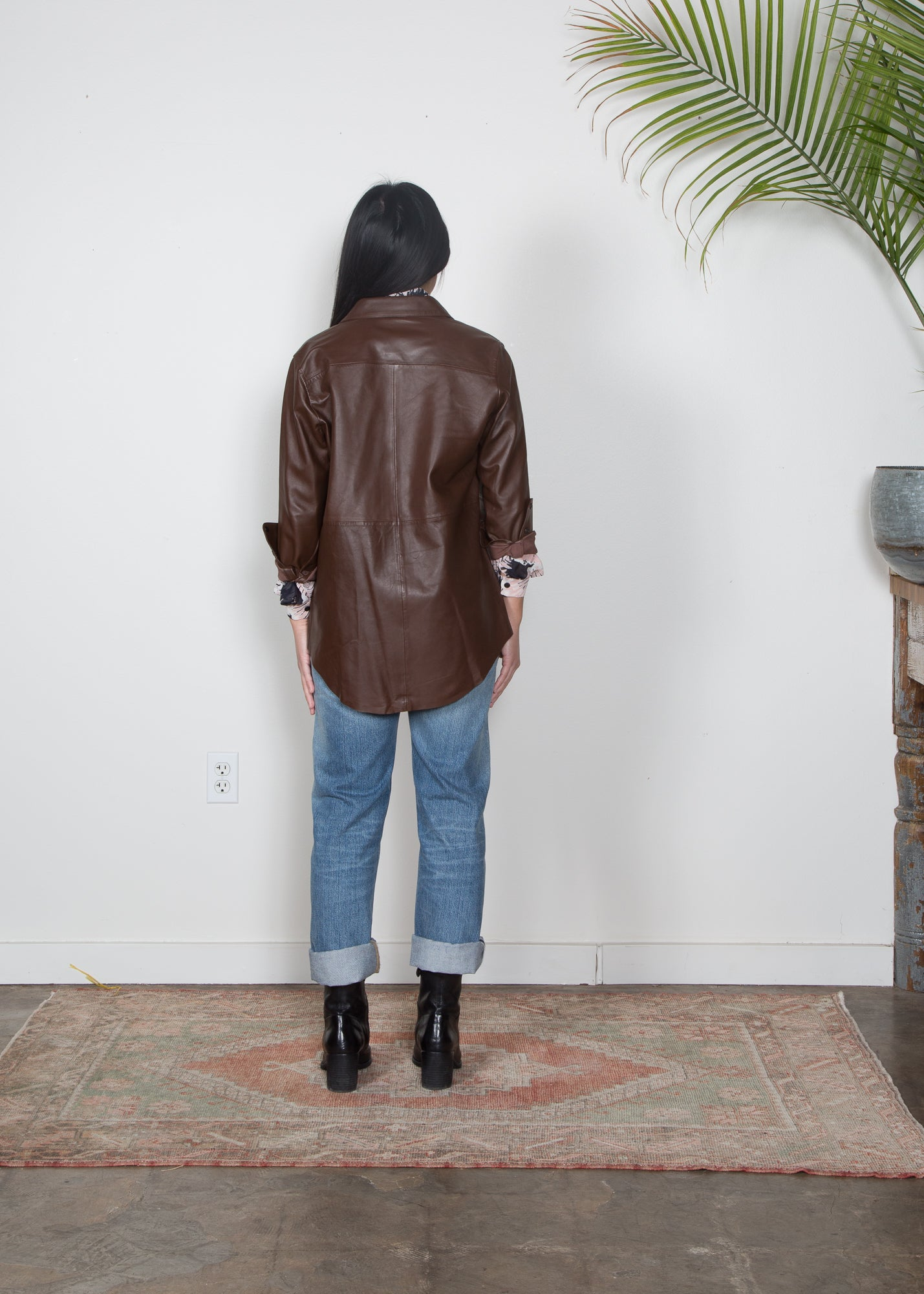 Tela Leather Shirt Jacket