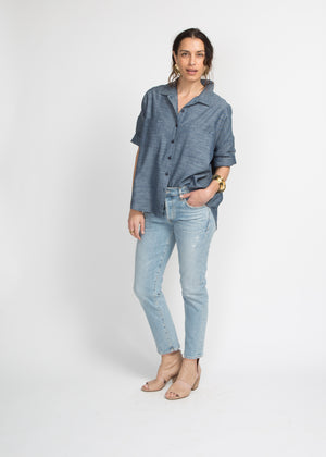 SBJ Austin Stephanie Top, Blue Woven