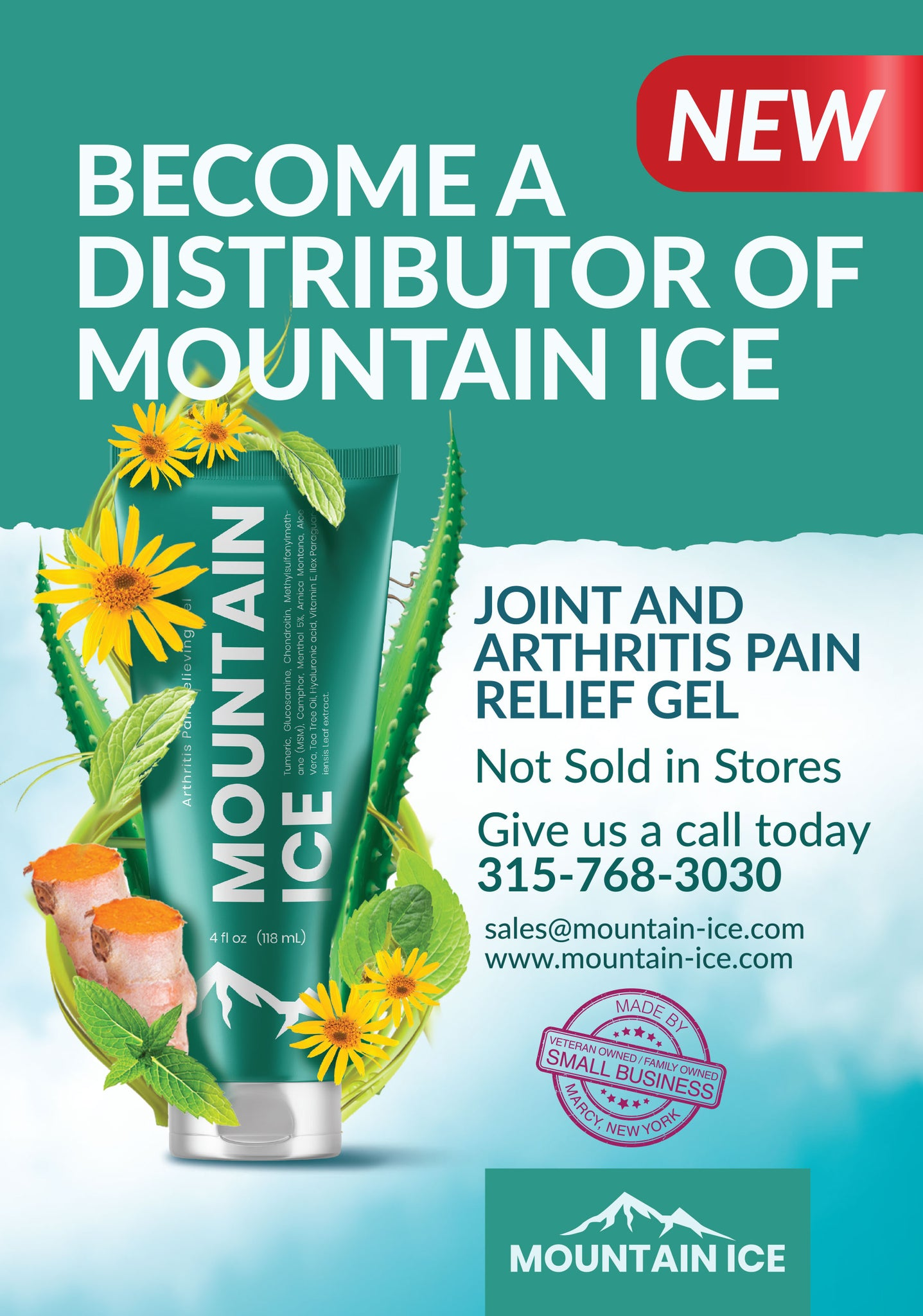 Become a Dealer for Mountain Ice Pain Relief Gel. Call 1-888-687-4334