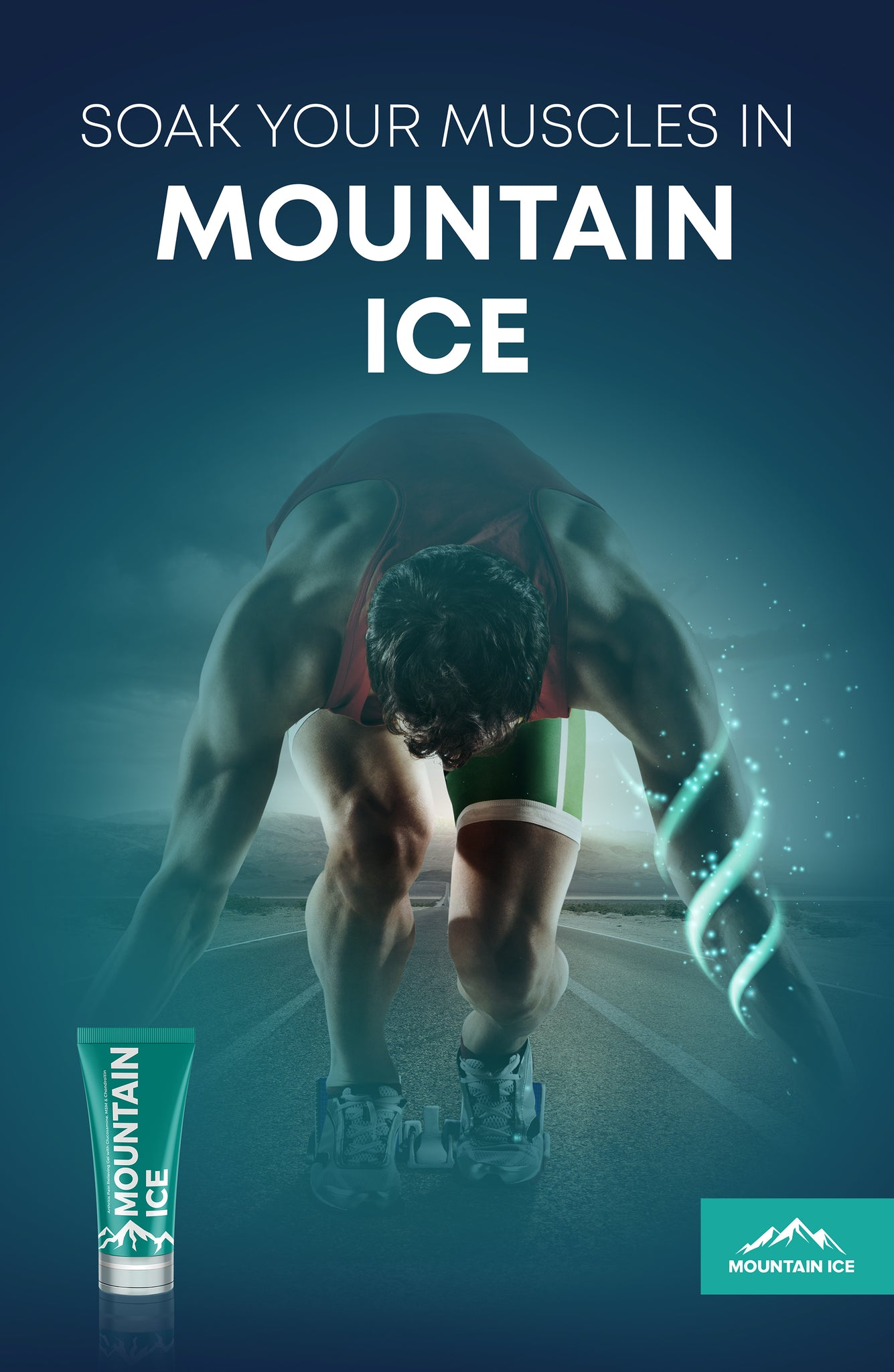 Sports Poster - Mountain Ice Pain Relief Gel for Sports Recovery