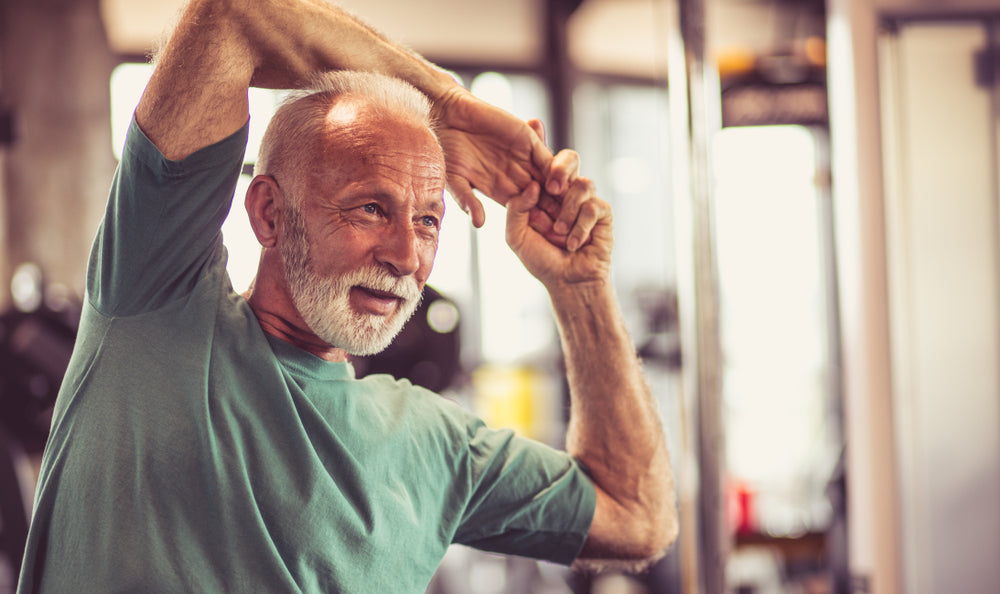 Older Man Exercising Mental Health Happy