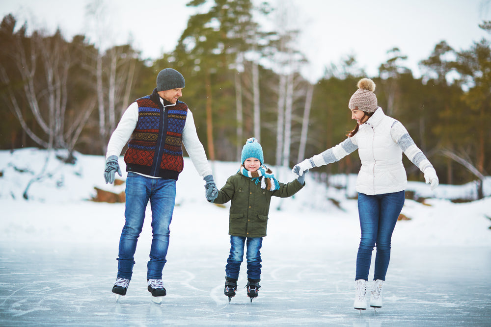 Outdoor Family Ice Skating Winter Exercise