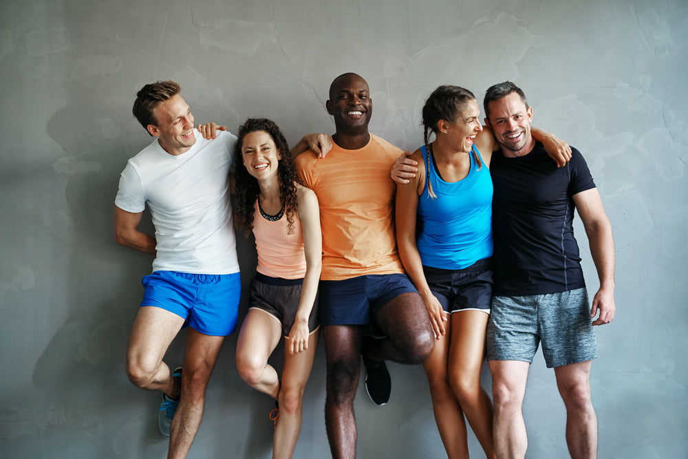 Friend Group Exercising Happy Mental Health