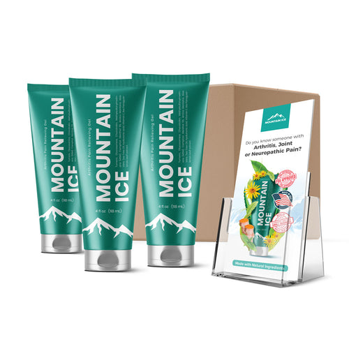 Mountain Ice All Natural Pain Relief Gel - 3 Pack - Anti-inflammatory, Arnica Montana Flower Extract, Camphor, Chondroitin, Glucosamine, Gluten free, Hyaluronic Acid, Ilex Paraguariensis Leaf
