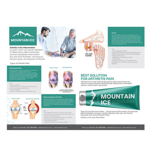 Mountain Ice Arthritis, Rheumatoid Arthritis and Gout Information and Helpful Tips Card 6 x 9 - dealer, Mountain Ice
