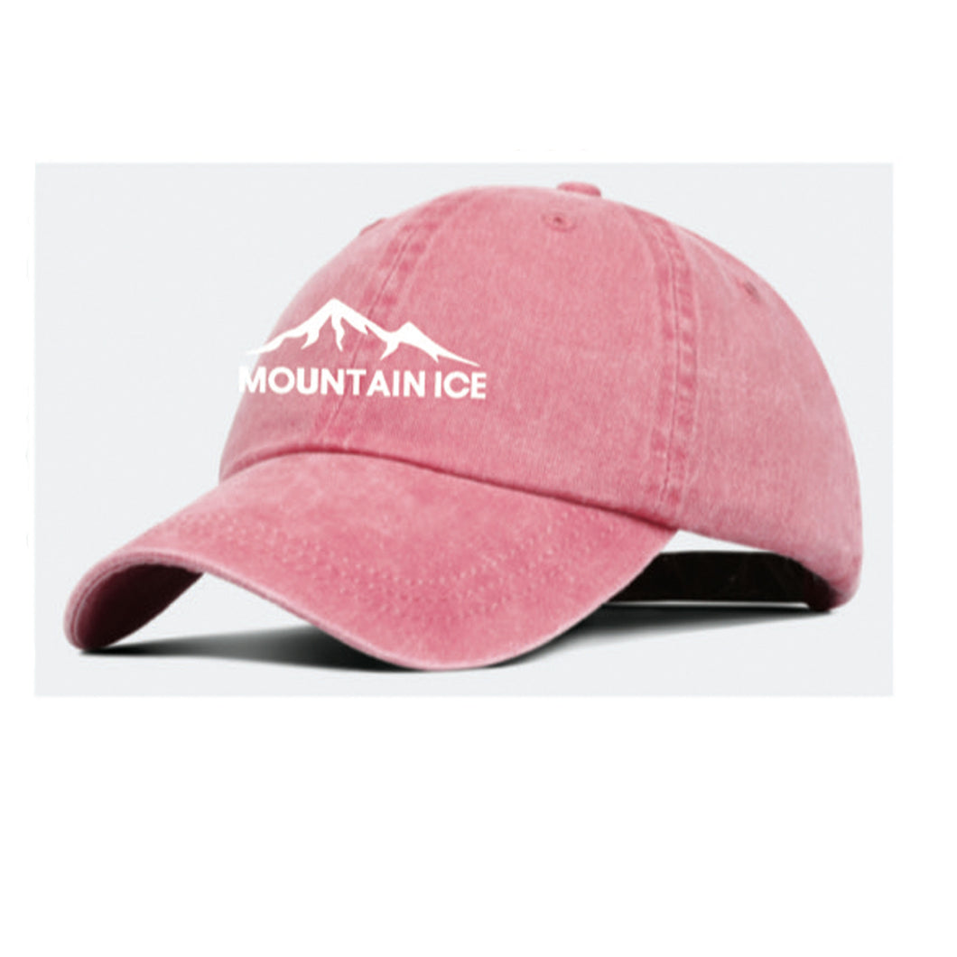 Mountain Ice Embroidered Hat - Coral Color with White Stitching, Adjustable