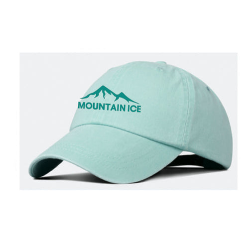 Mountain Ice Embroidered Hat - Seafoam Color with Teal Stitching, Adjustable