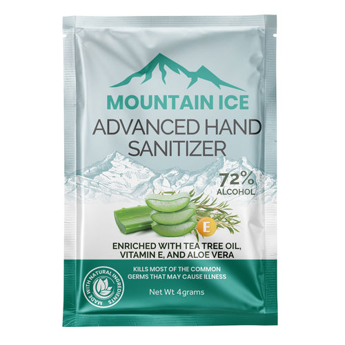 Mountain Ice Hand Sanitizer with 72% Alcohol, Enriched with Tea Tree Oil, Aloe Vera & Vitamin E, 4 Gram Packet - Aloe Vera, Hand Sanitizer, Tea Tree Oil, Vitamin E
