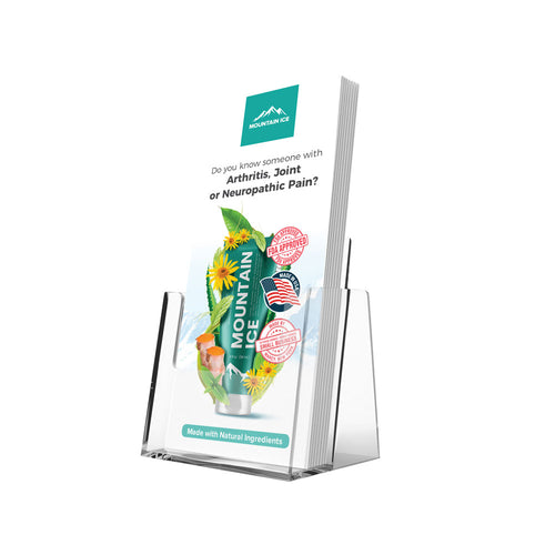 Mountain Ice Pain Gel (20) Brochures with Counter Top Holder