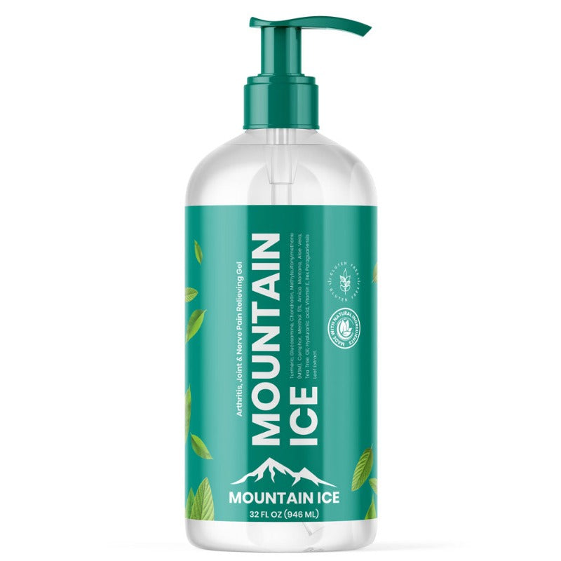 Mountain Ice Arthritis, Joint and Nerve Pain Relief Gel 32 oz Pump Bottle - Anti-inflammatory, Arnica Montana Flower Extract, Chondroitin, Glucosamine, Mountain Ice, MSM