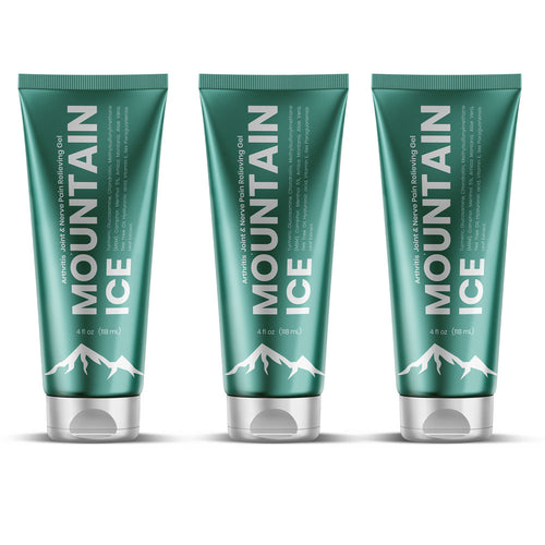 Mountain Ice All Natural Pain Relief Gel 4oz. - 3 Pack - Anti-inflammatory, Arnica Montana Flower Extract, Camphor, Chondroitin, Glucosamine, Gluten free, Hyaluronic Acid, Ilex Paraguariensis