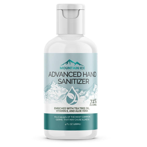 Mountain Ice Hand Sanitizer with 72% Alcohol, Enriched with Tea Tree Oil, Aloe vera & Vitamin E, 4 oz - 72 percent alcohol, Aloe vera, Hand Sanitizer, Mountain Ice, Tea Tree Oil, Vitamin E
