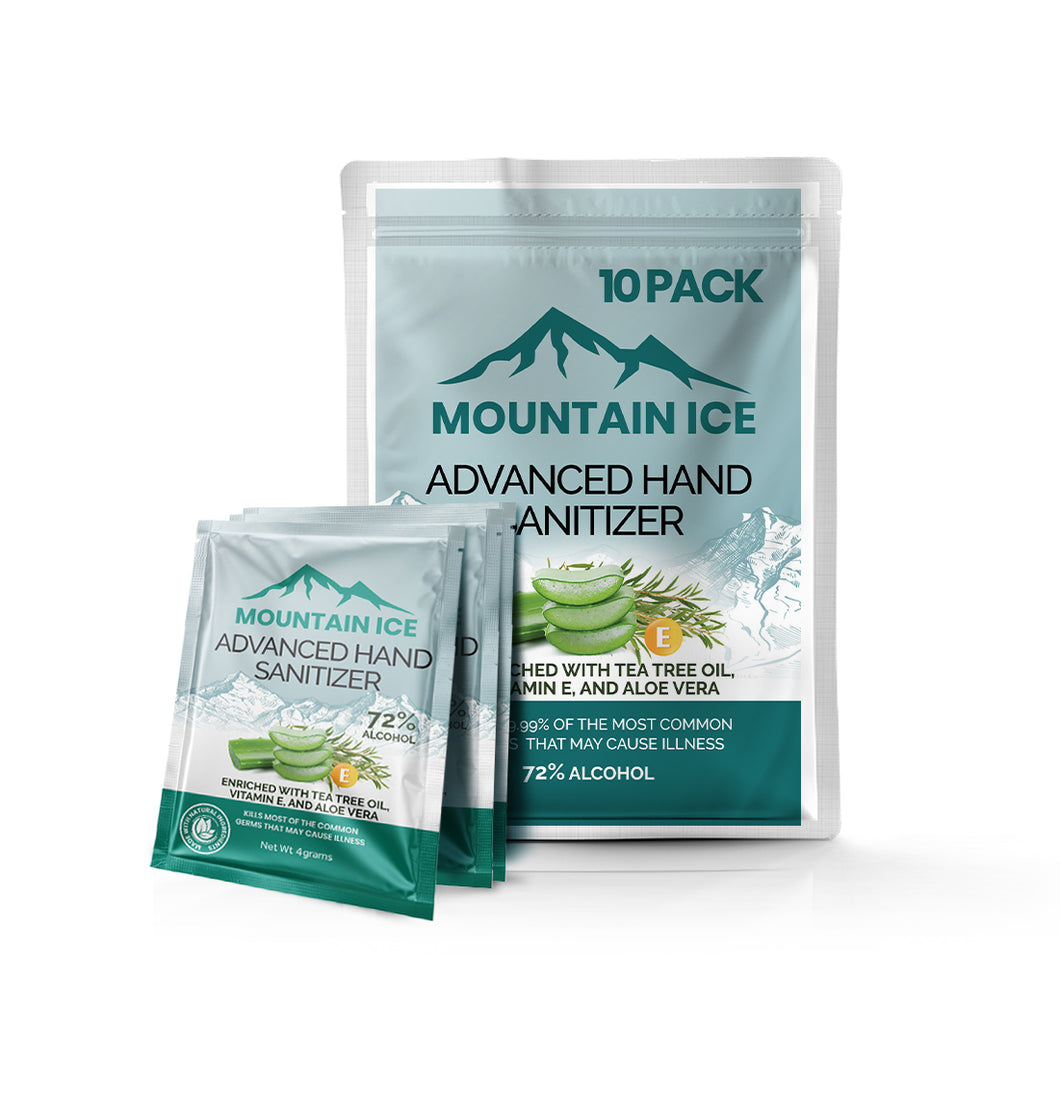 Mountain Ice Hand Sanitizer with Tea Tree Oil, Aloe vera & Vitamin E, 4 Gram Packets (10-Pack) - Aloe Vera, Hand Sanitizer, Made in USA, Mountain Ice, Natural ingredients, Tea Tree Oil
