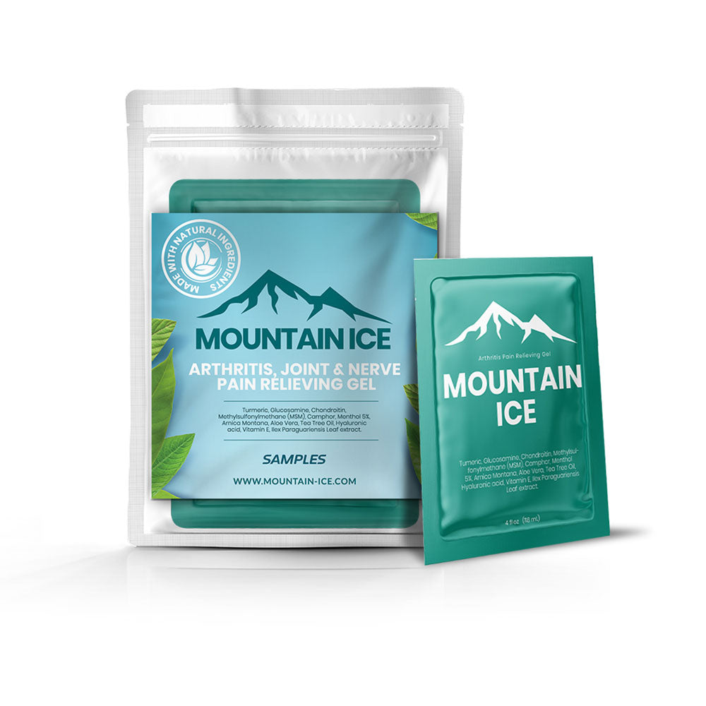 Sample Packs Mountain Ice Pain Relief Gel, 6 gram Packets - Aloe Vera, Arnica Montana Flower Extract, Arthritis Pain Medication, Best treatment for rheumatoid arthritis, Camphor, Chondroitin,
