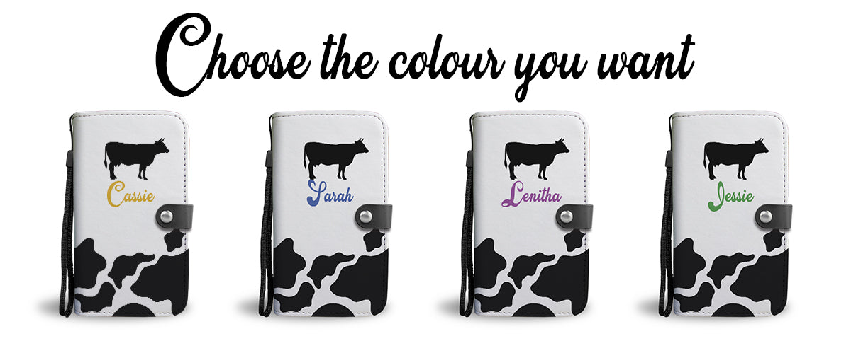 choose any color on your personalized cow print phone wallet case