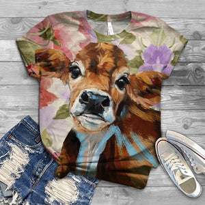 Cute Floral Calf T-Shirt