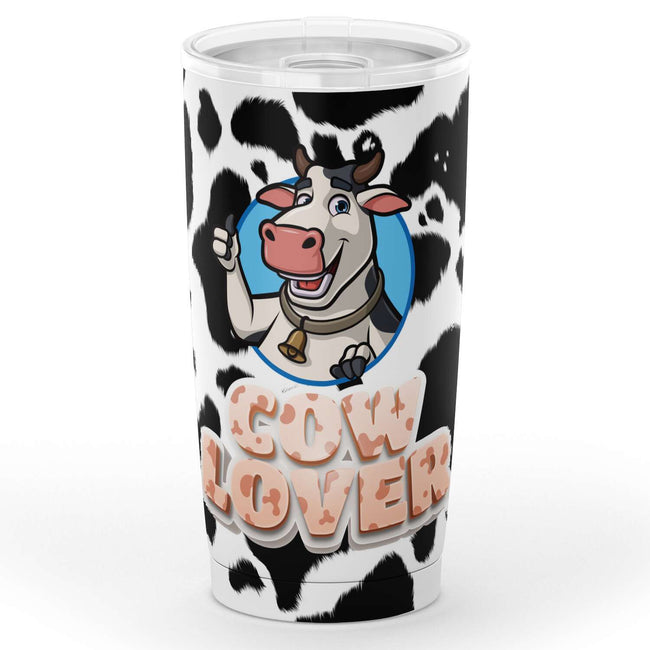 A  Cow Tumbler Thermos Cup fronting its animated smiling cow picture design