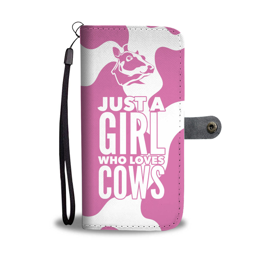 Pink Cow Print Phone Wallet Case
