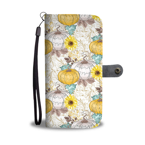 Sunflower Pumpkin Phone Wallet Case
