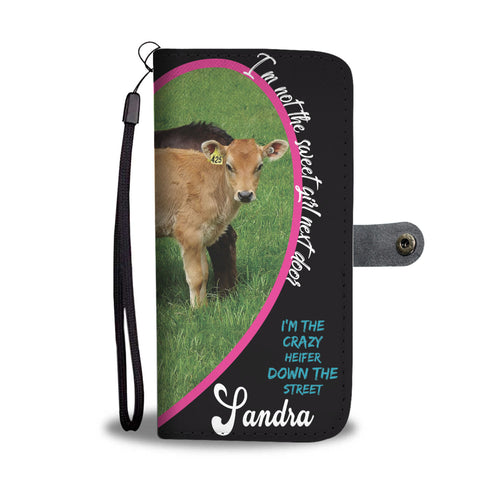 Crazy Heifer Personalized Phone Wallet Case