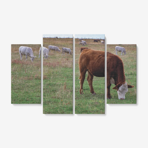 Grazing Cows 4 Piece Canvas Wall Art for Living Room