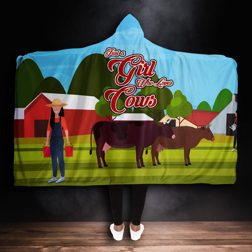 Premium Girl Who Loves Cows Hooded Blanket