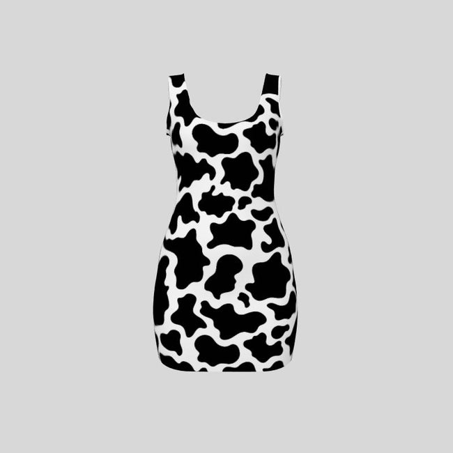 All-over print oversized sleeveless dress