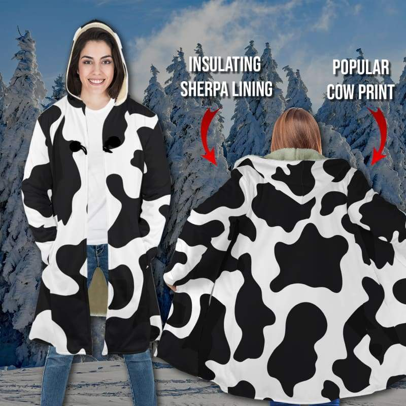 Cow Lover Sherpa Hooded Cloak | Cow Loco