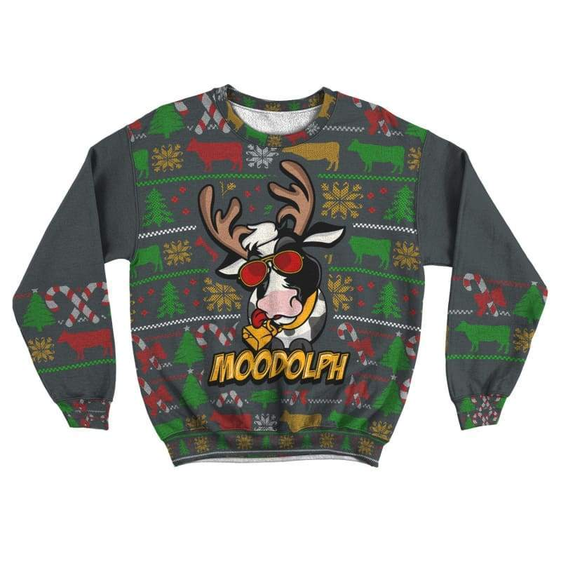 Moodolph Ugly Christmas Cow Sweatshirt - Designs For Farmers