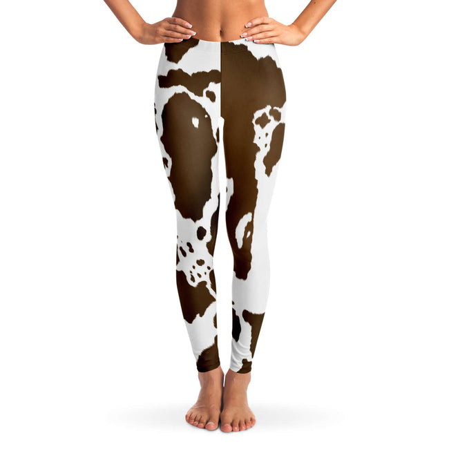 Brown Cow Print Leggings