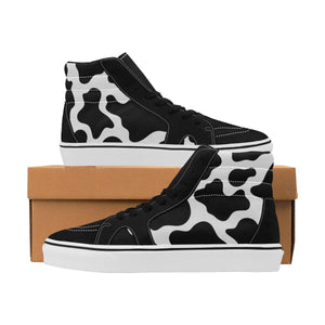 Premium Cow Print Womens High Top Sneakers