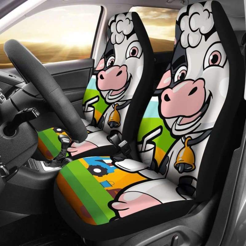 Cute Seat Covers featuring a happy cow drinking milk (Set of 2) | Cow Loco