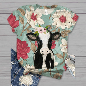 Cartoon Cow Print Flower T-shirt