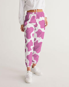 Pink Cow Print Women's Track Pants