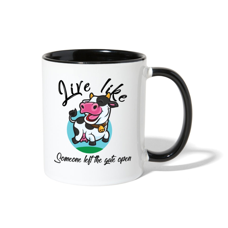 Funny Happy Cow Coffee Mug - white/black