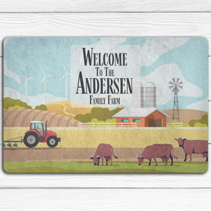 Personalized Cartoon Farm Doormat | Cow Loco