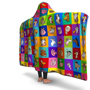 Funny Farm Animal Hooded Blanket | Cow Loco