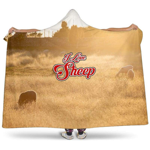 I Love Sheep Premium Hooded Blanket | Cow Loco