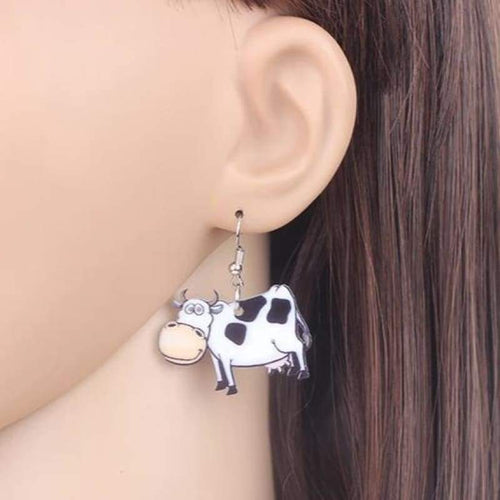 Acrylic Cute Cow Earrings For Women | Cow Loco